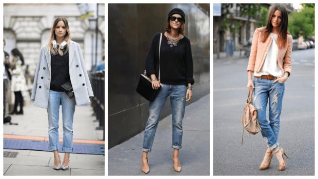 С чем носить джинсы бойфренды: туфли на каблуке