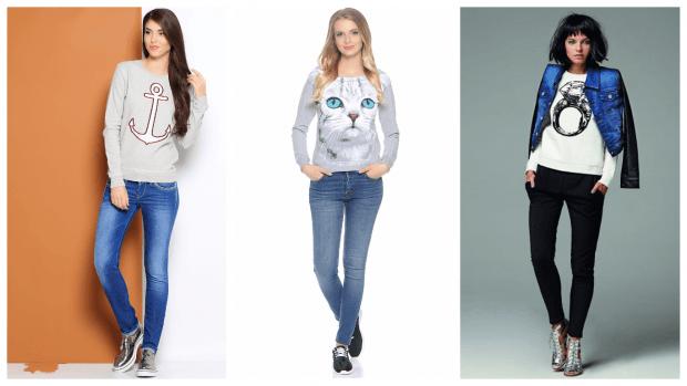 с узкими джинсами
