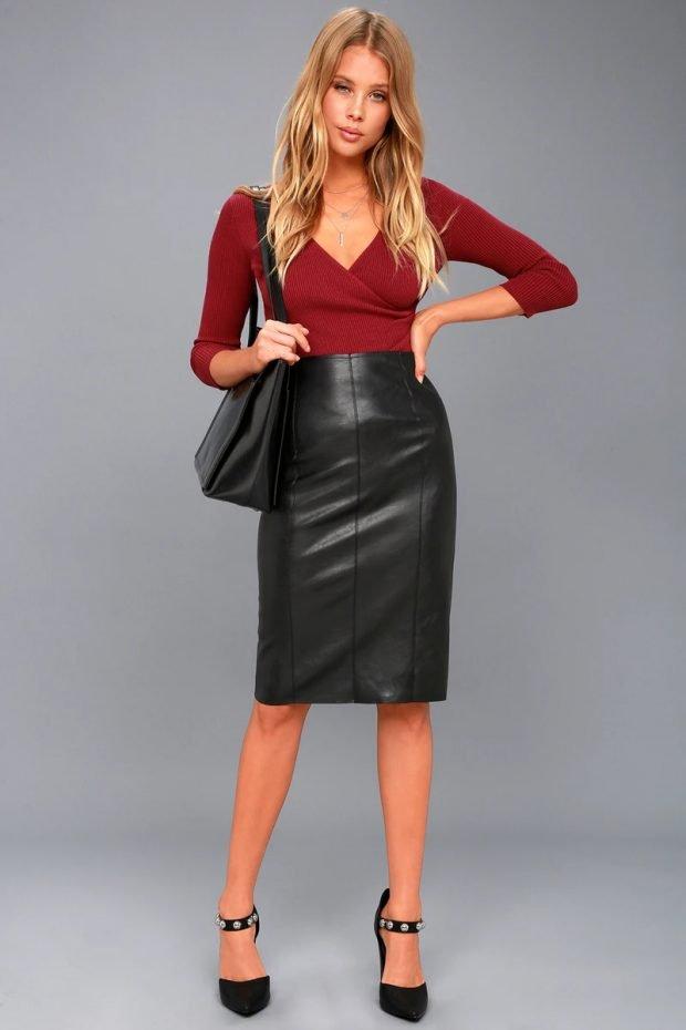 черная под бордовую блузку