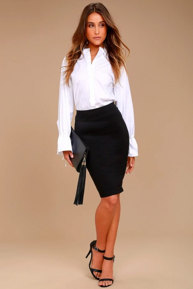 с чем носить юбку карандаш: белая рубашка