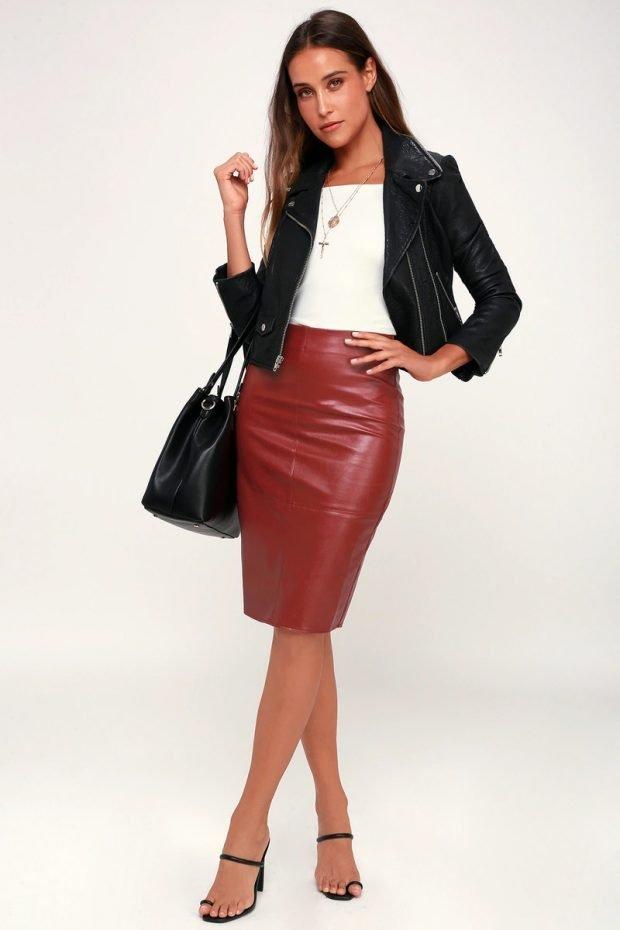 с чем носить юбку карандаш: куртка косуха