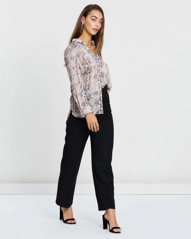 женские брюки осень зима 2019 2020: черные прямые