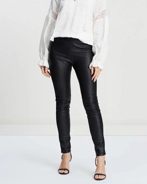 женские брюки осень зима 2019 2020: черные кожаные
