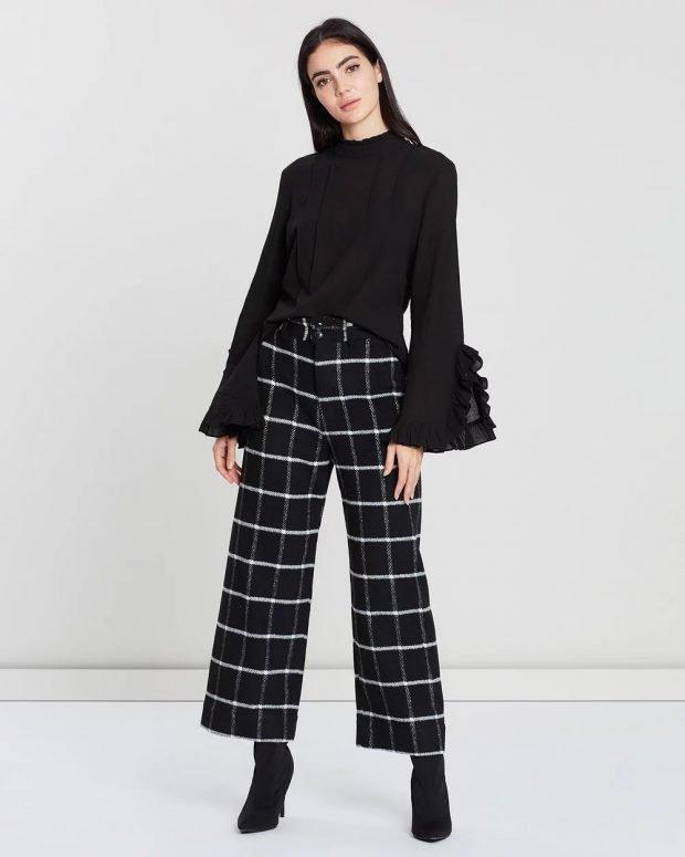 женские брюки осень зима 2019 2020: черные в клетку