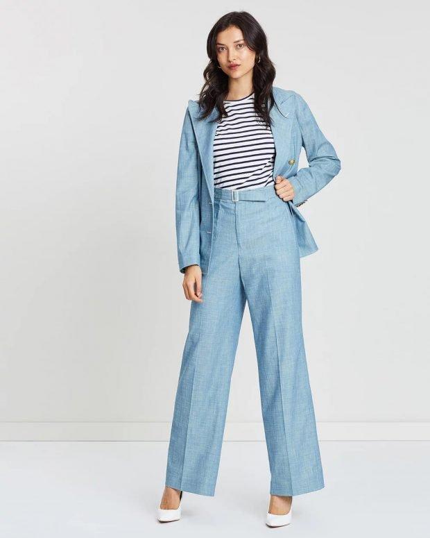 женские брюки осень зима 2019 2020: прямые голубые