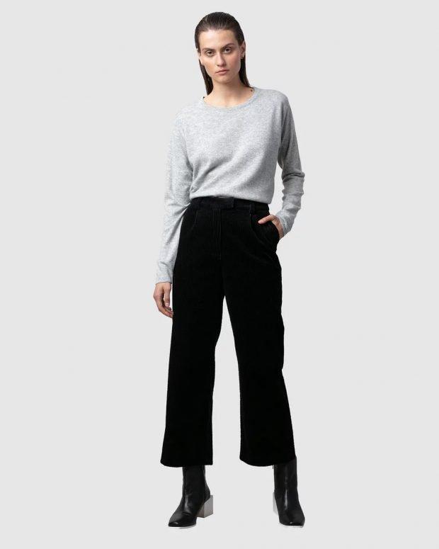 женские брюки осень зима 2019 2020: черные укороченные