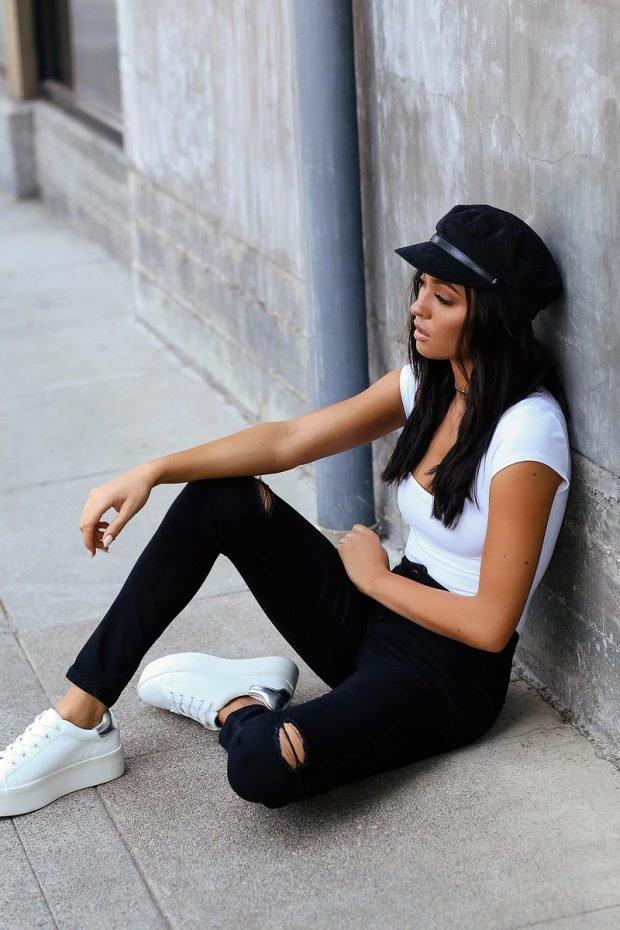 Женские джинсы: узкие черные рваные