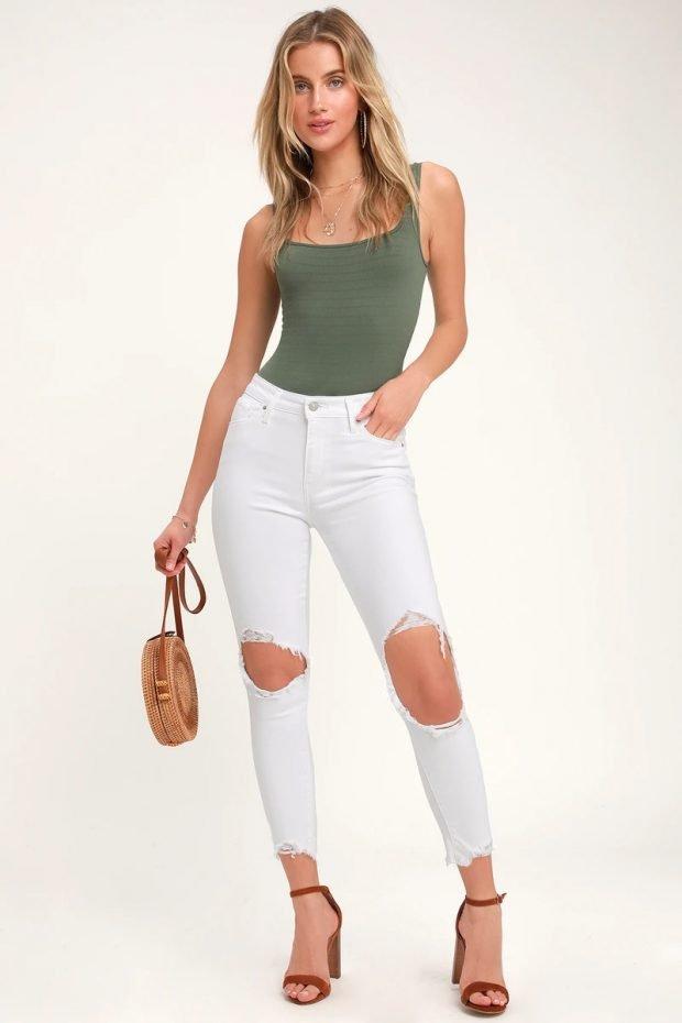 Женские джинсы: узкие белые рваные