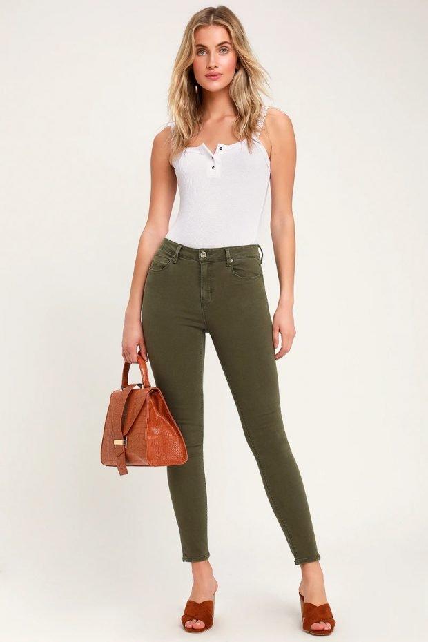 Женские джинсы: узкие хаки