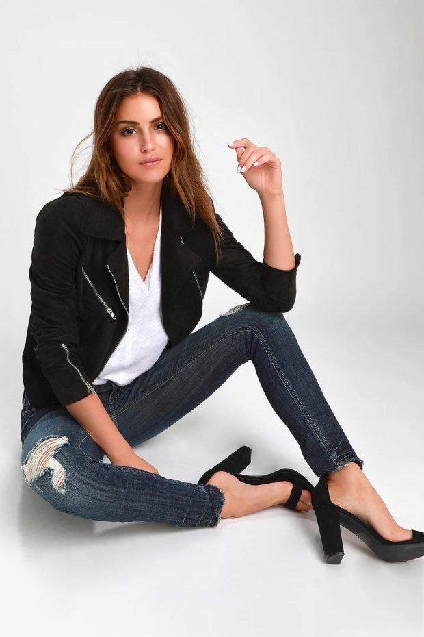 Женские джинсы: узкие рваные синие