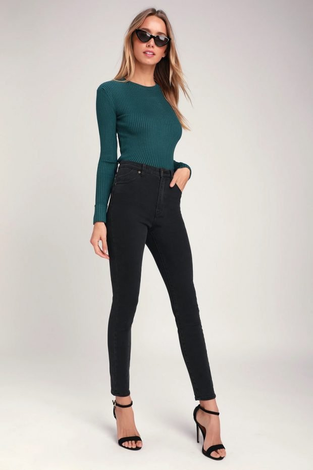 Женские джинсы: узкие темно-серые высокая талия