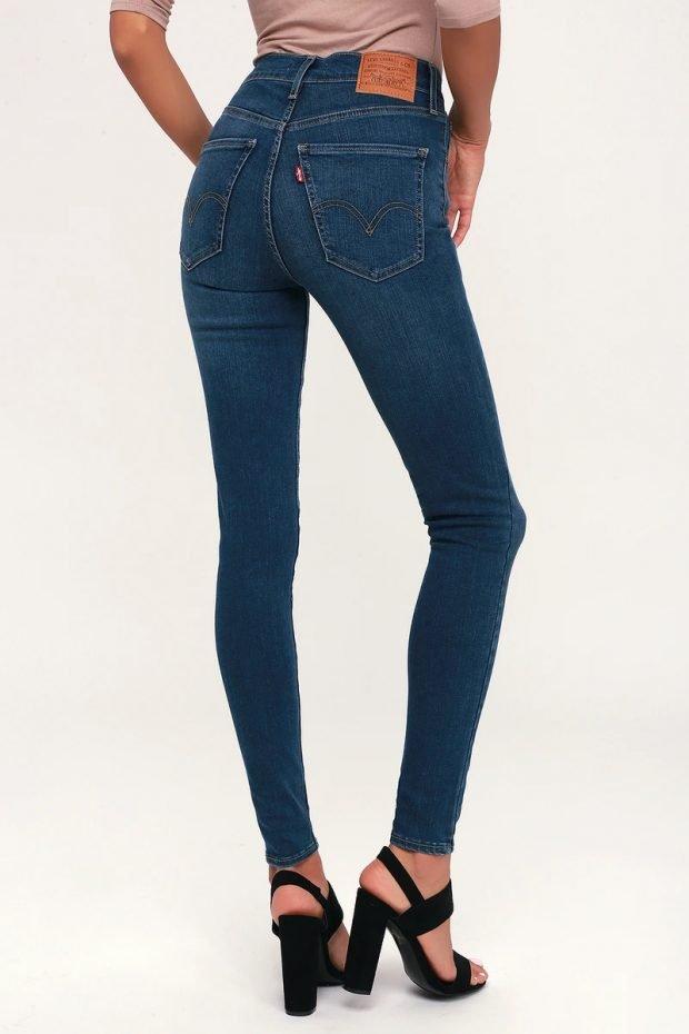Женские джинсы: узкие синие высокая талия