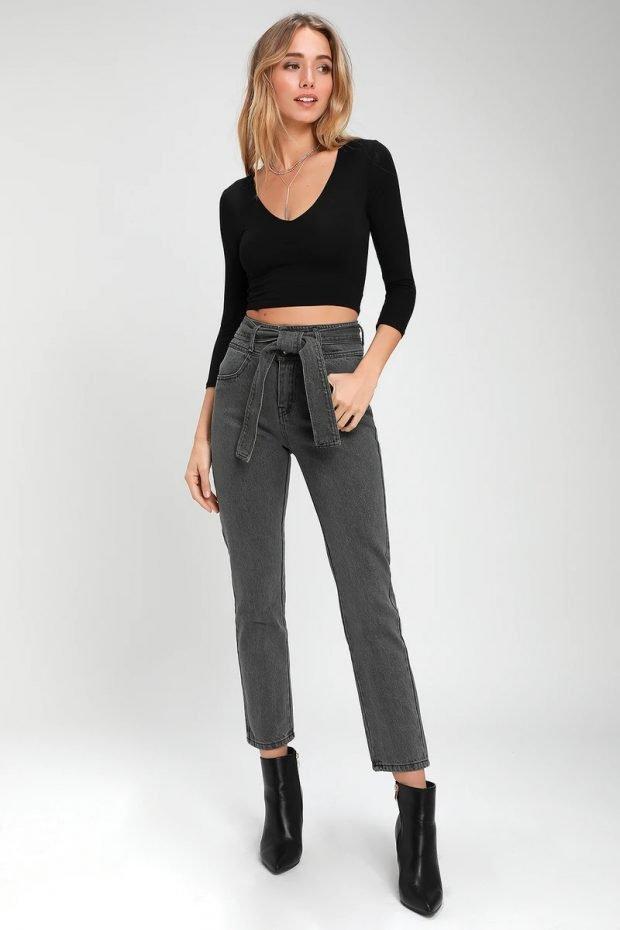 Женские джинсы: узкие серые с поясом
