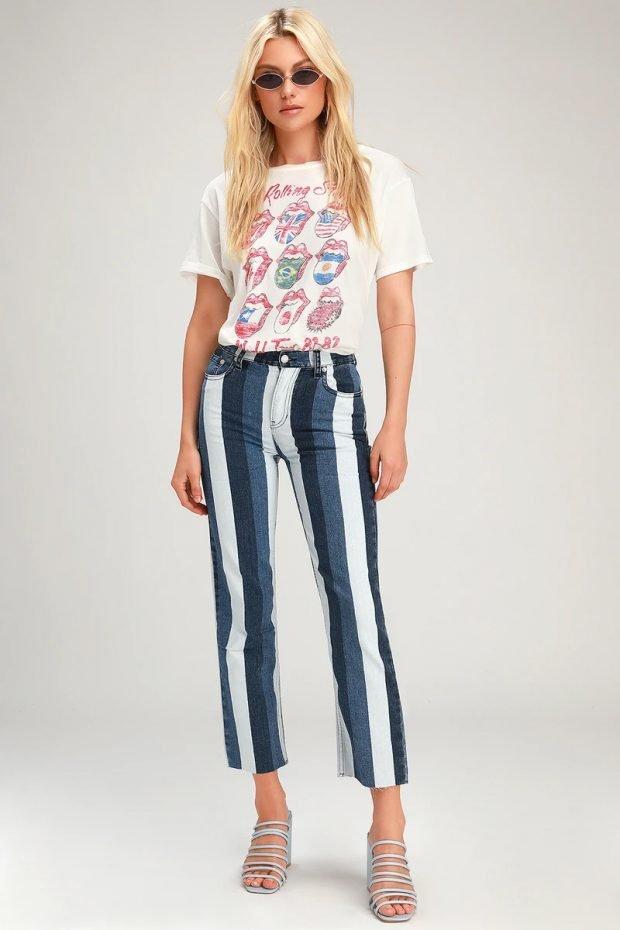 джинсы 2020: укороченные крупная полоса