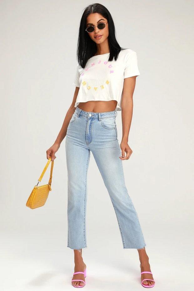 женские джинсы 2020 2021: укороченные голубые