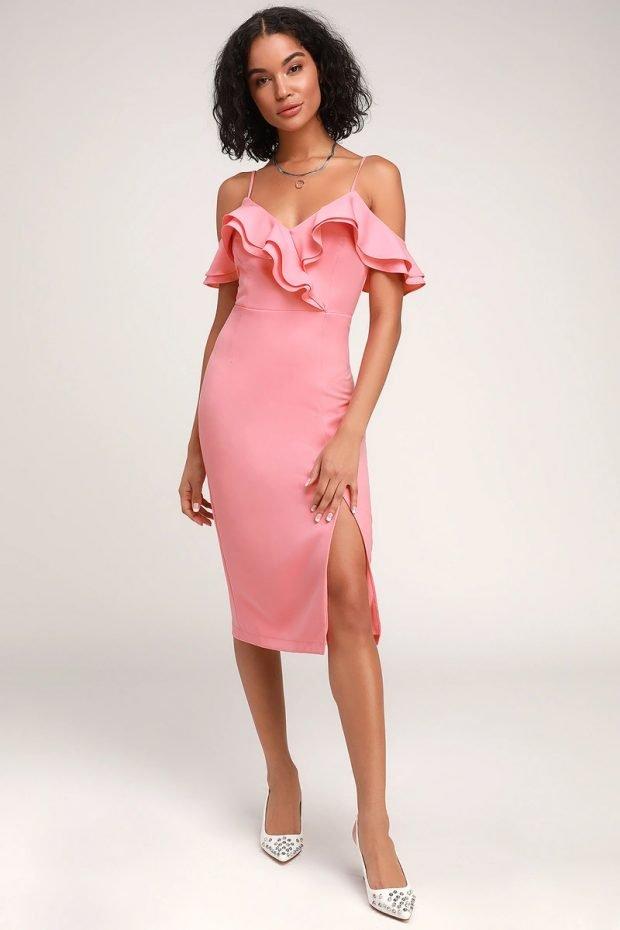 Коктейльные платья 2019 2020 года: нежно-розовое с рюшами