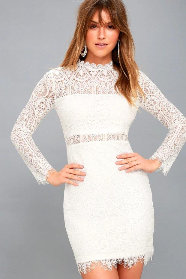 Коктейльные платья 2019 2020 года: белое ажурное