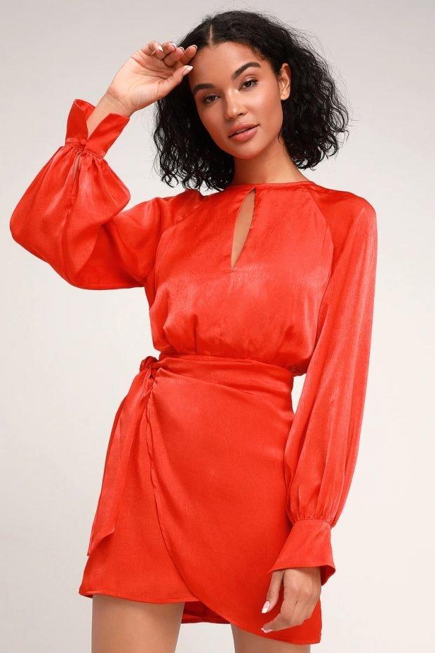 Коктейльные платья 2019 2020 года: атласное красное