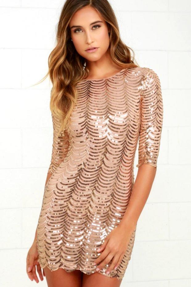 Нарядные платья 2020: блестящее золото короткое
