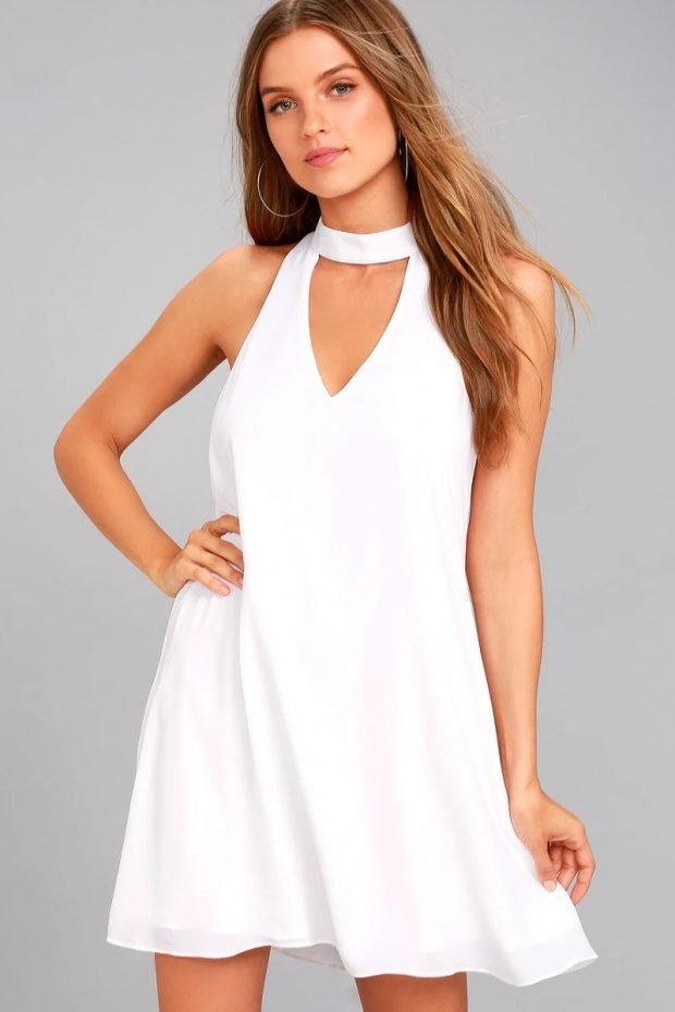 Нарядные платья 2021: короткое белое