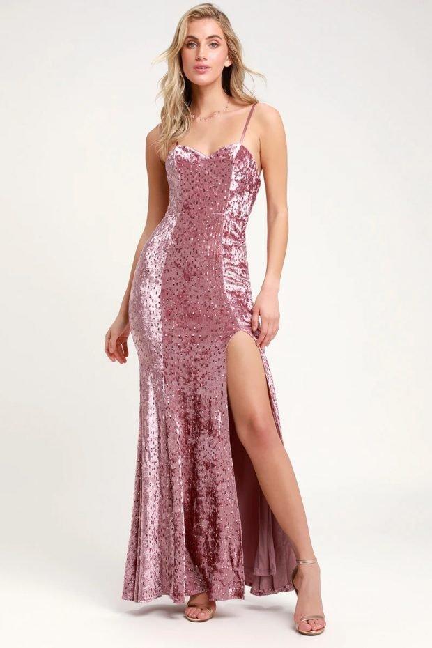 Нарядные платья 2020 2021: розовое блестящее длинное