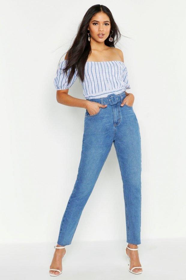 с чем носить джинсы бойфренды: полосатый топ