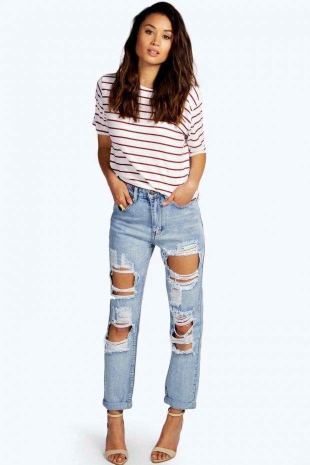 с чем носить джинсы бойфренды: футболка в полоску