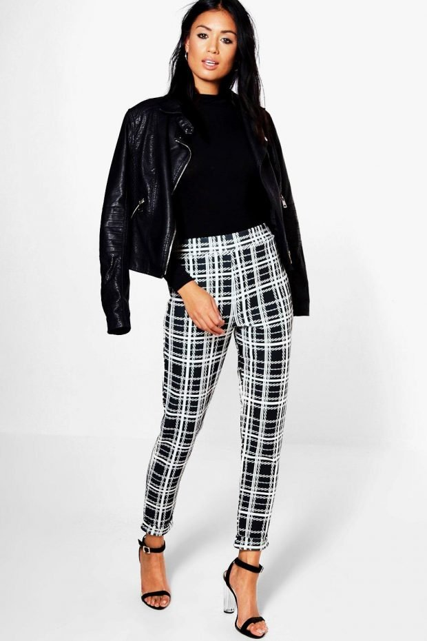 С чем носить узкие брюки: куртка косуха