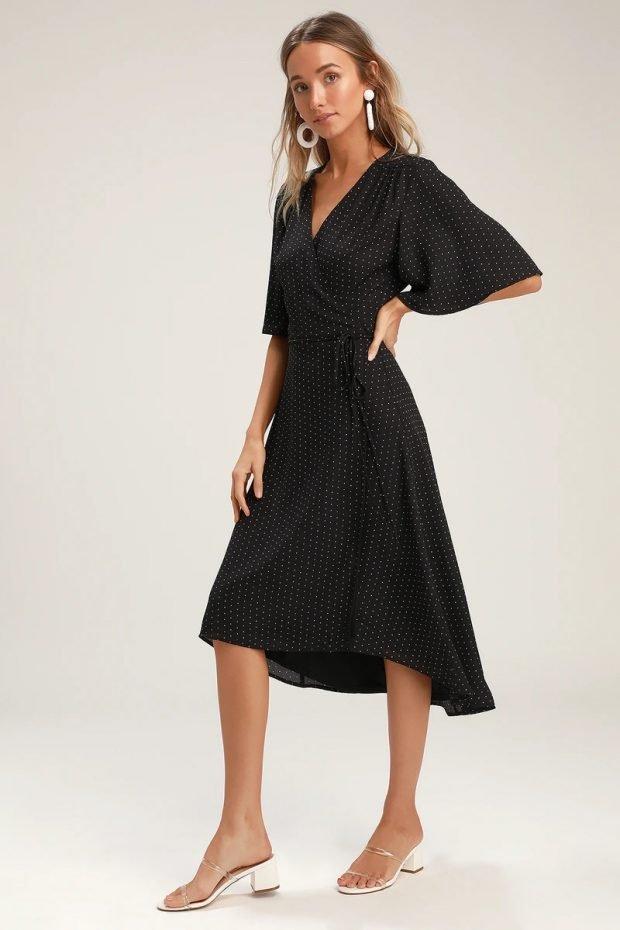 строгое платье 2019 2020: черное мелкий горошек