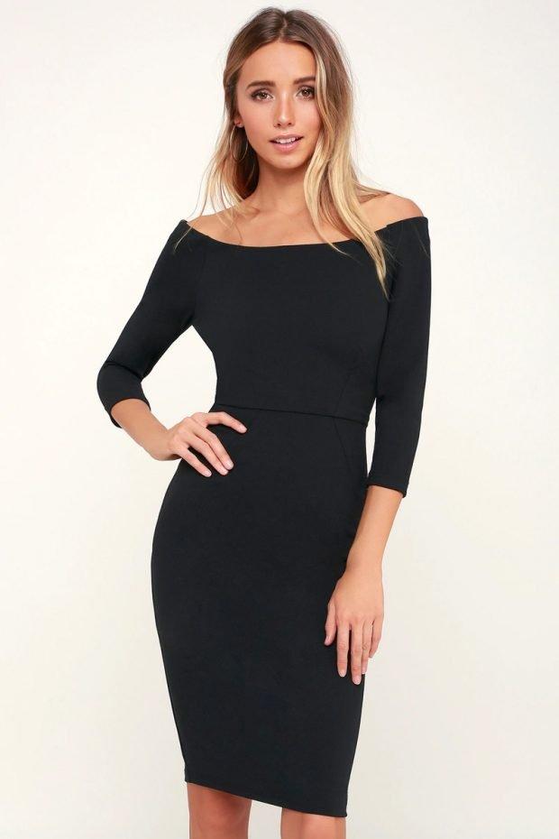 строгое платье 2019 2020: черное короткий рукав