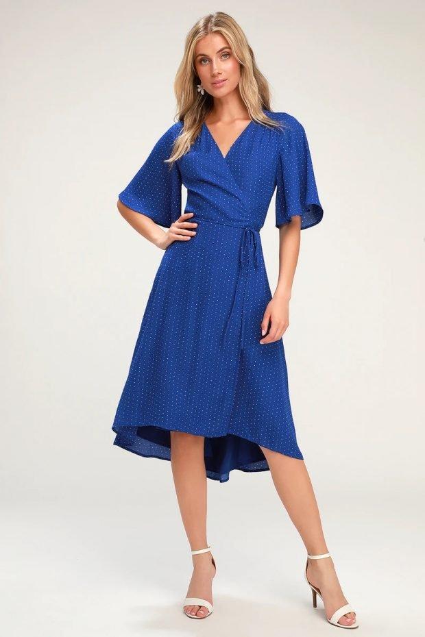 строгое платье 2019 2020: ярко синее короткий рукав