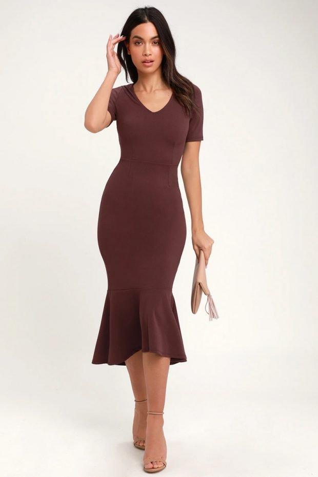 строгое платье 2019 2020: коричневое короткий рукав