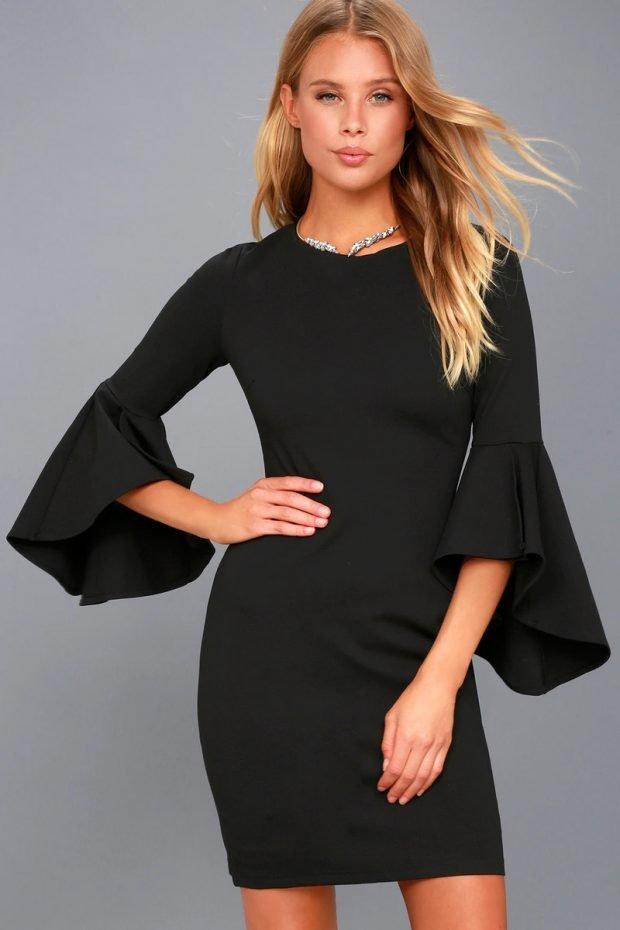 строгое платье 2019 2020: черное короткий рукав клеш