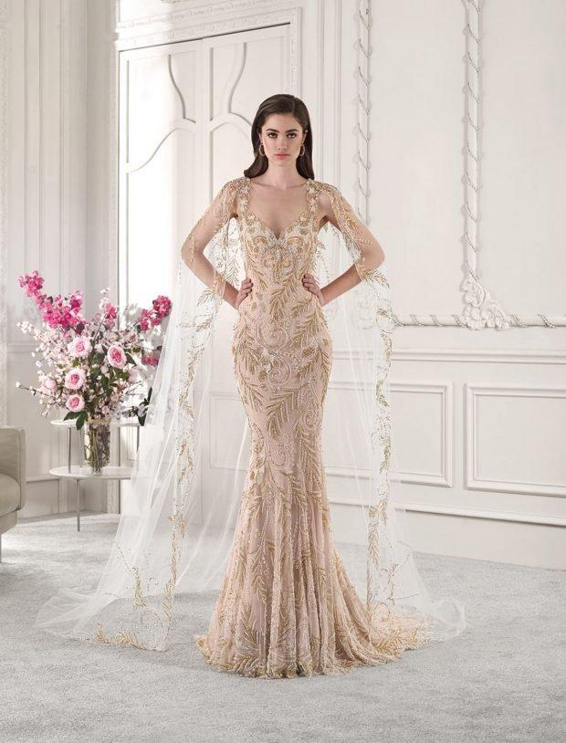 свадебное платье в греческом стиле: русалка бежевое