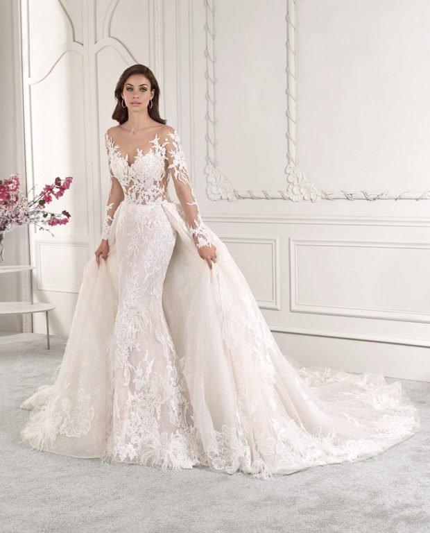 свадебное платье в греческом стиле: пышное кружевное белое