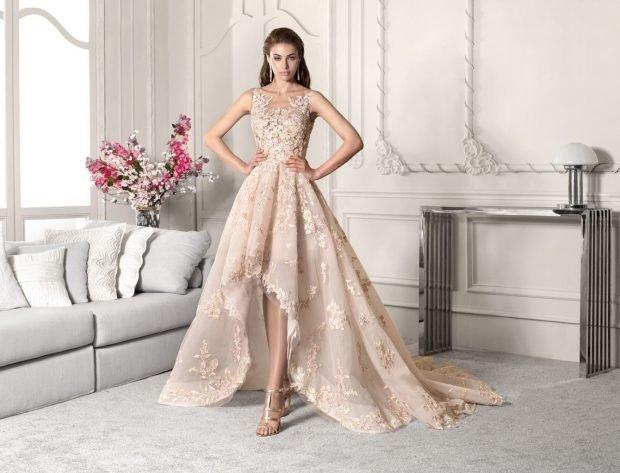 свадебное платье в греческом стиле: пышное бежевое