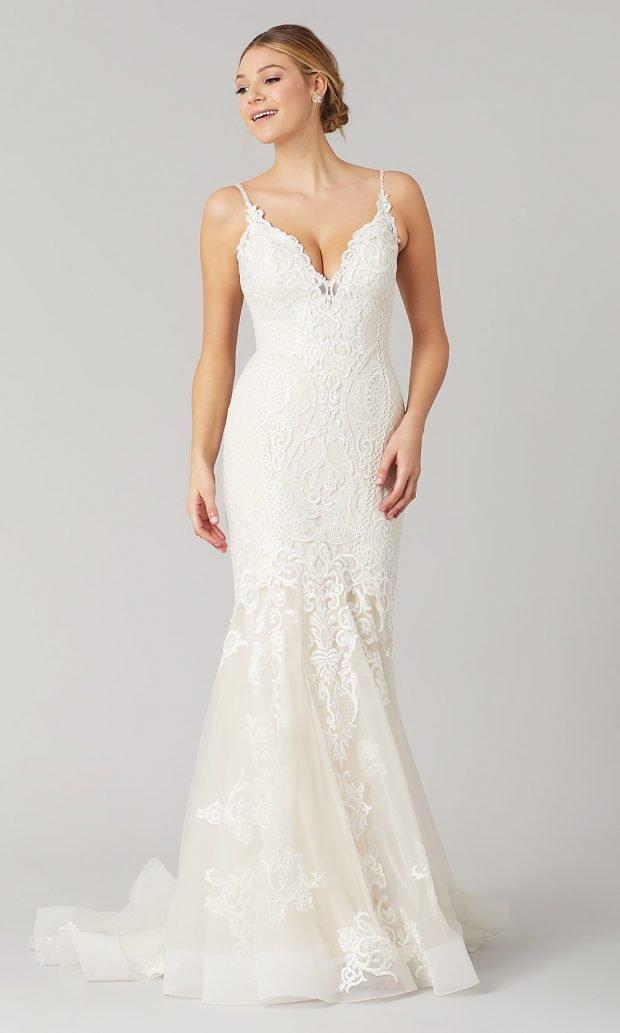 свадебные платья рыбка: кружевное белое