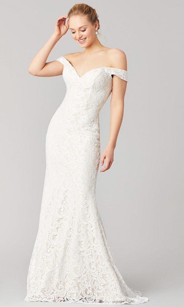 свадебные платья рыбка: ажурное белое лямки спущены