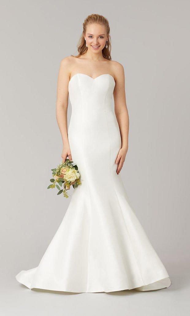 свадебные платья рыбка: белое открытые плечи