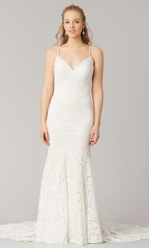 свадебные платья рыбка: ажурное белое на лямках