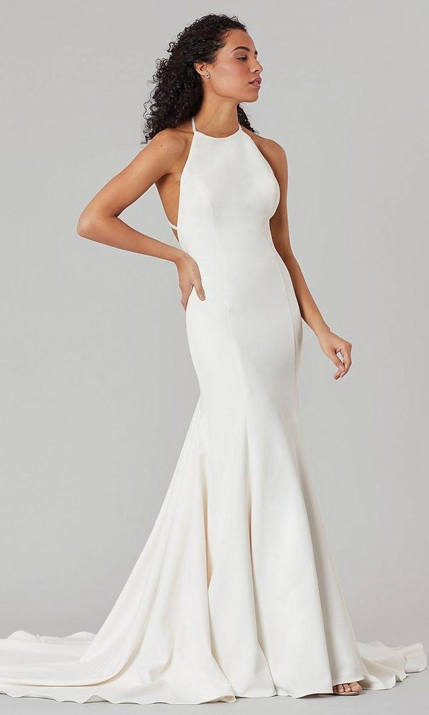 свадебные платья рыбка: атласное белое открытые руки