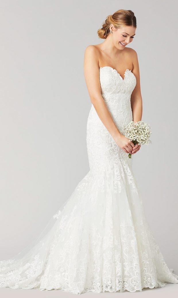 свадебные платья рыбка: ажурное белое открыты плечи