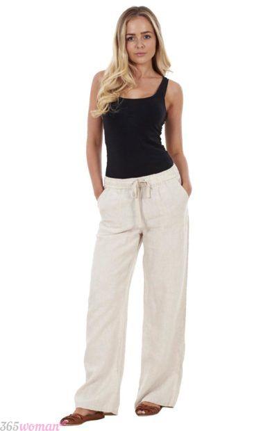 белые широкие брюки