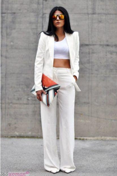 широкие белые брюки с чем носить
