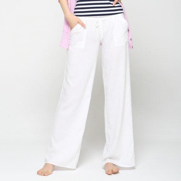 белые широкие брюки с чем носить