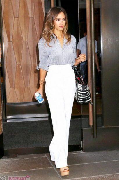 белые льняные брюки с чем носить