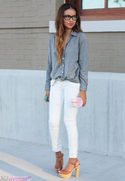 узкие белые брюки с чем носить