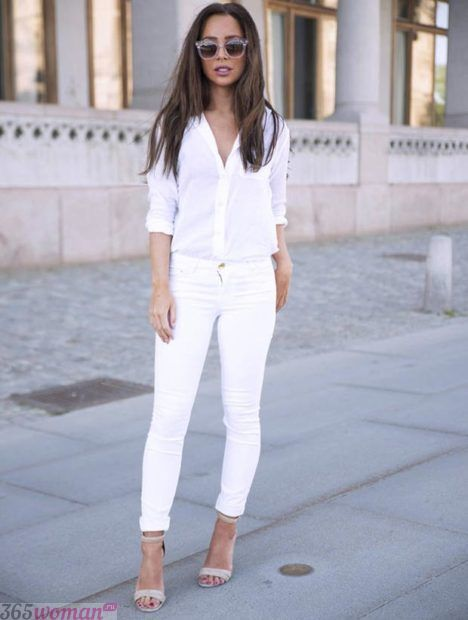 белые узкие брюки