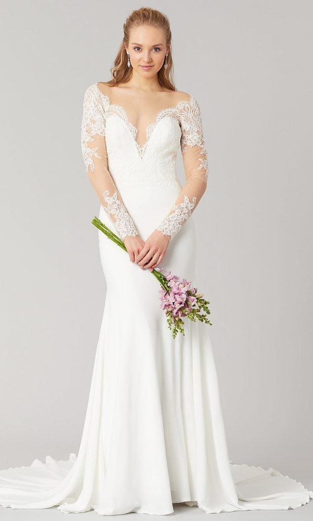 Длинные свадебные платья: ажурное белое длинное большой вырез
