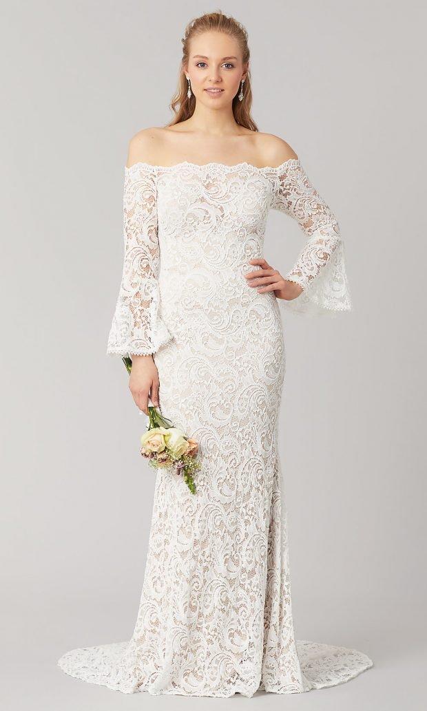 Длинные свадебные платья: белое длинное открытые плечи кружевное